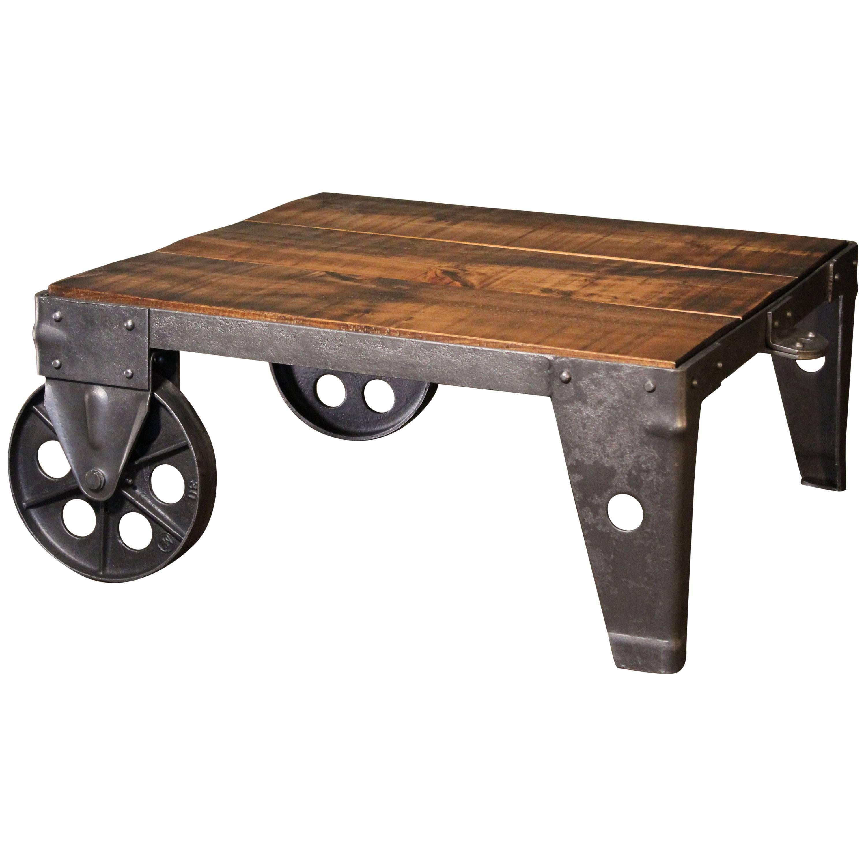 authentic vintage industrial cart coffee table factory shop wood steel and iron