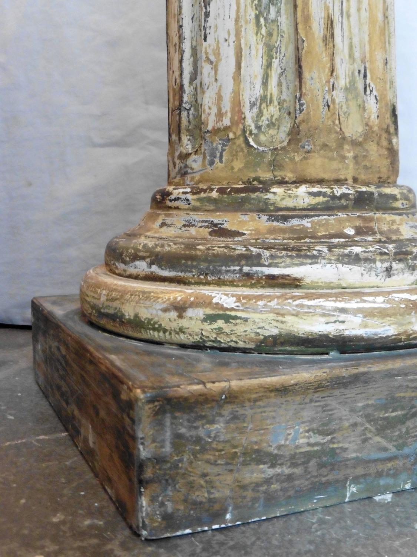 Set Of Three Italian Wooden Column Pedestals Circa