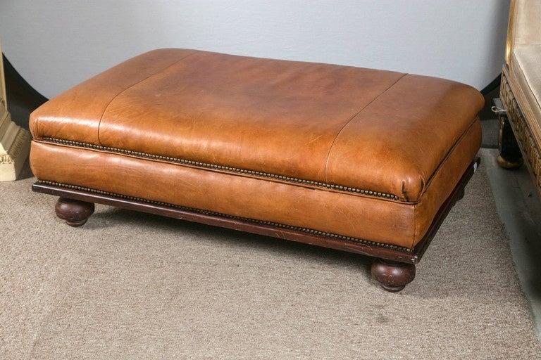 ralph lauren leather ottoman or footstool