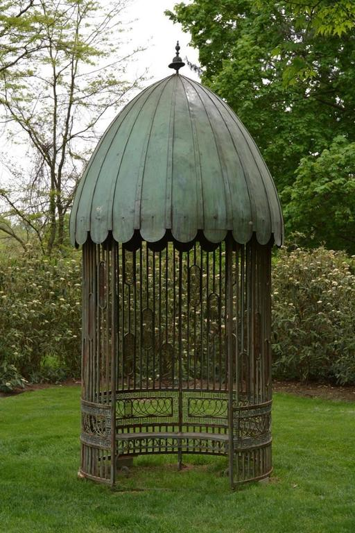 Gazebo With Copper Roof And Wrought Iron Elements For Sale