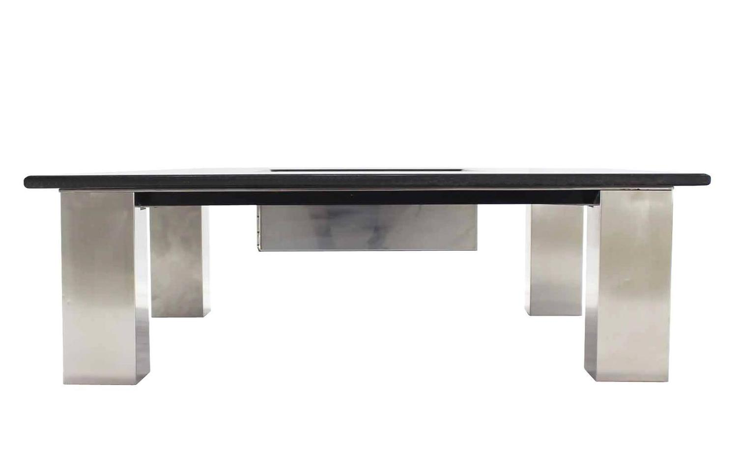 Large Square Granite Top Coffee Table With Center Planter