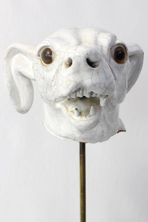 Italian Ceramic Dog Head At 1stdibs