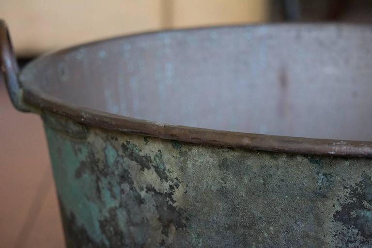 Antique Verdigris Copper Pot At 1stdibs