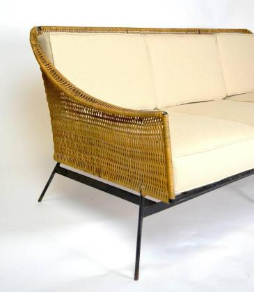 Mid Century Modern Rattan and Wrought Iron Sofa at 1stdibs Mid Century Modern Rattan and Wrought Iron Sofa In Good Condition For Sale  In Palm