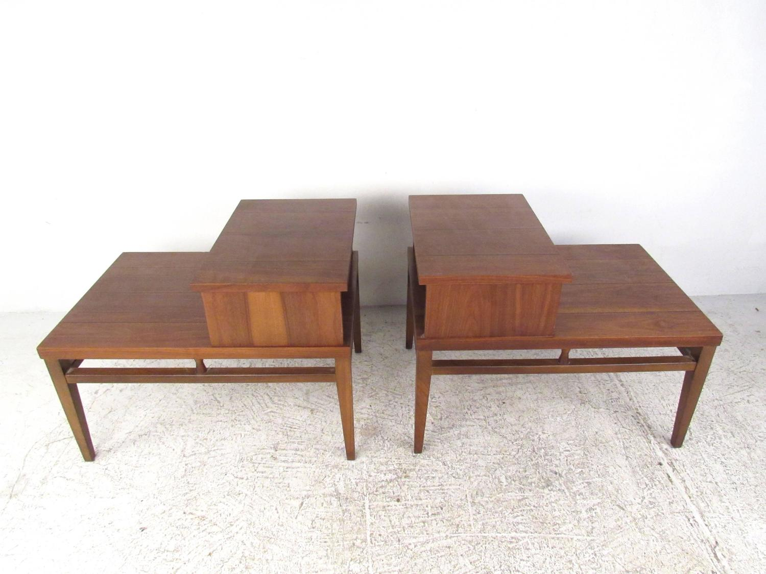 Mid-Century Modern Two-Tier End Tables By Lane For Sale At
