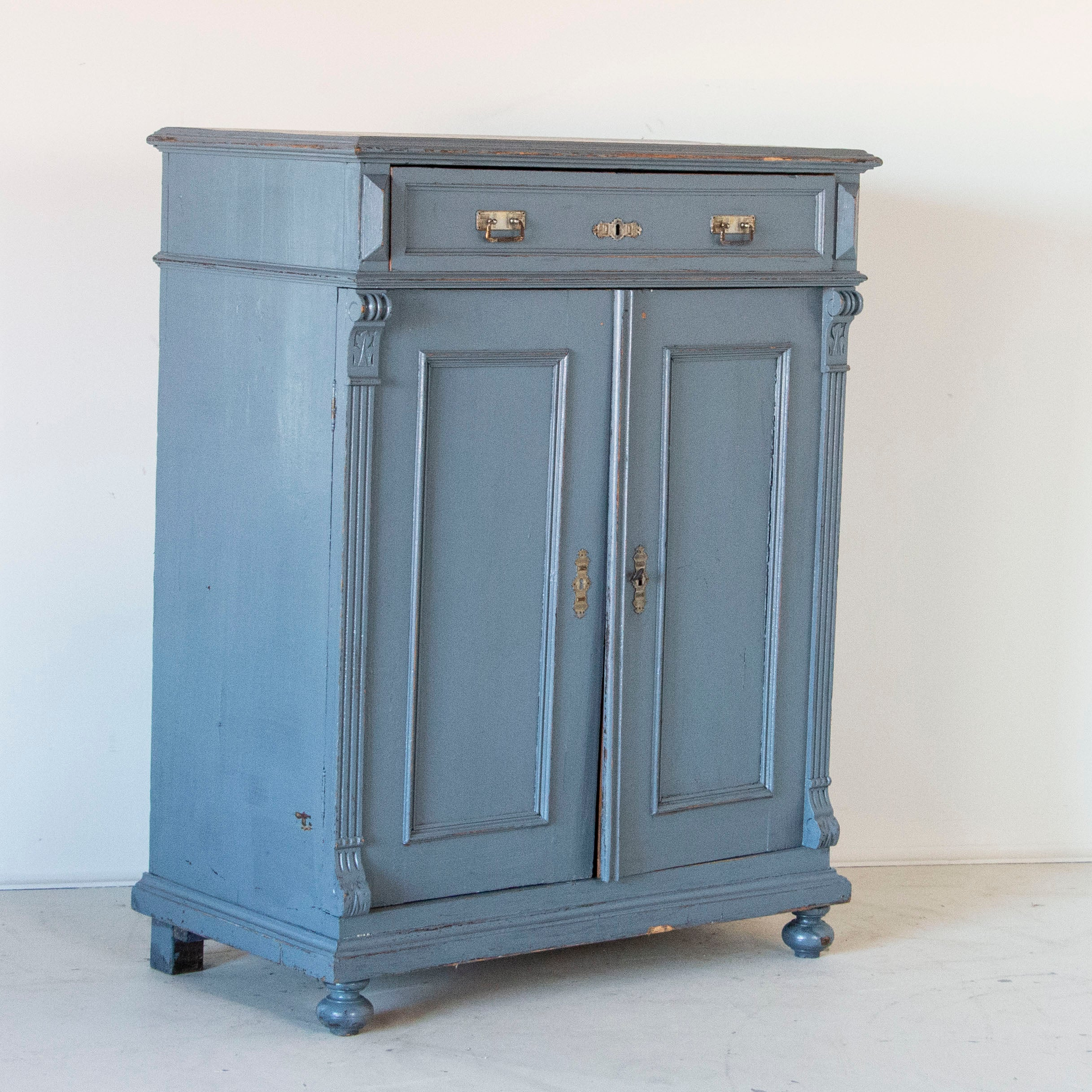 Antique Tall Original Blue Painted Sideboard From Sweden At 1stdibs