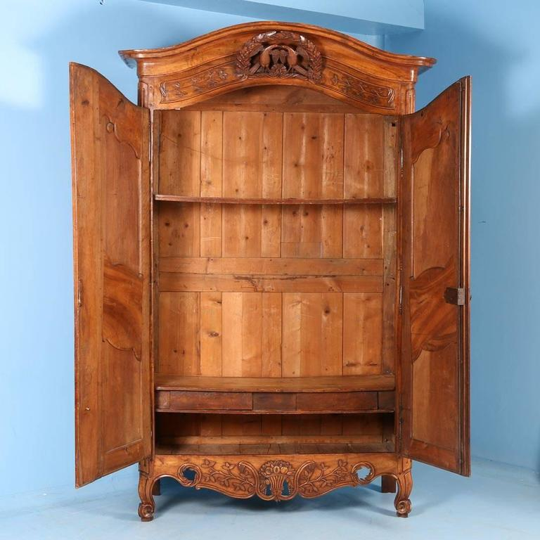 Antique French Chestnut Wedding Armoire with Love Birds  circa 1790     Louis XV Antique French Chestnut Wedding Armoire with Love Birds  circa  1790 For Sale