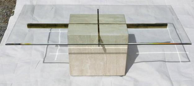 artedi vintage coffee table in travertine, brass and beveled glass