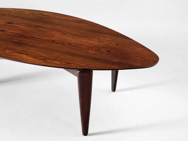 large danish organic shaped coffee table in rosewood
