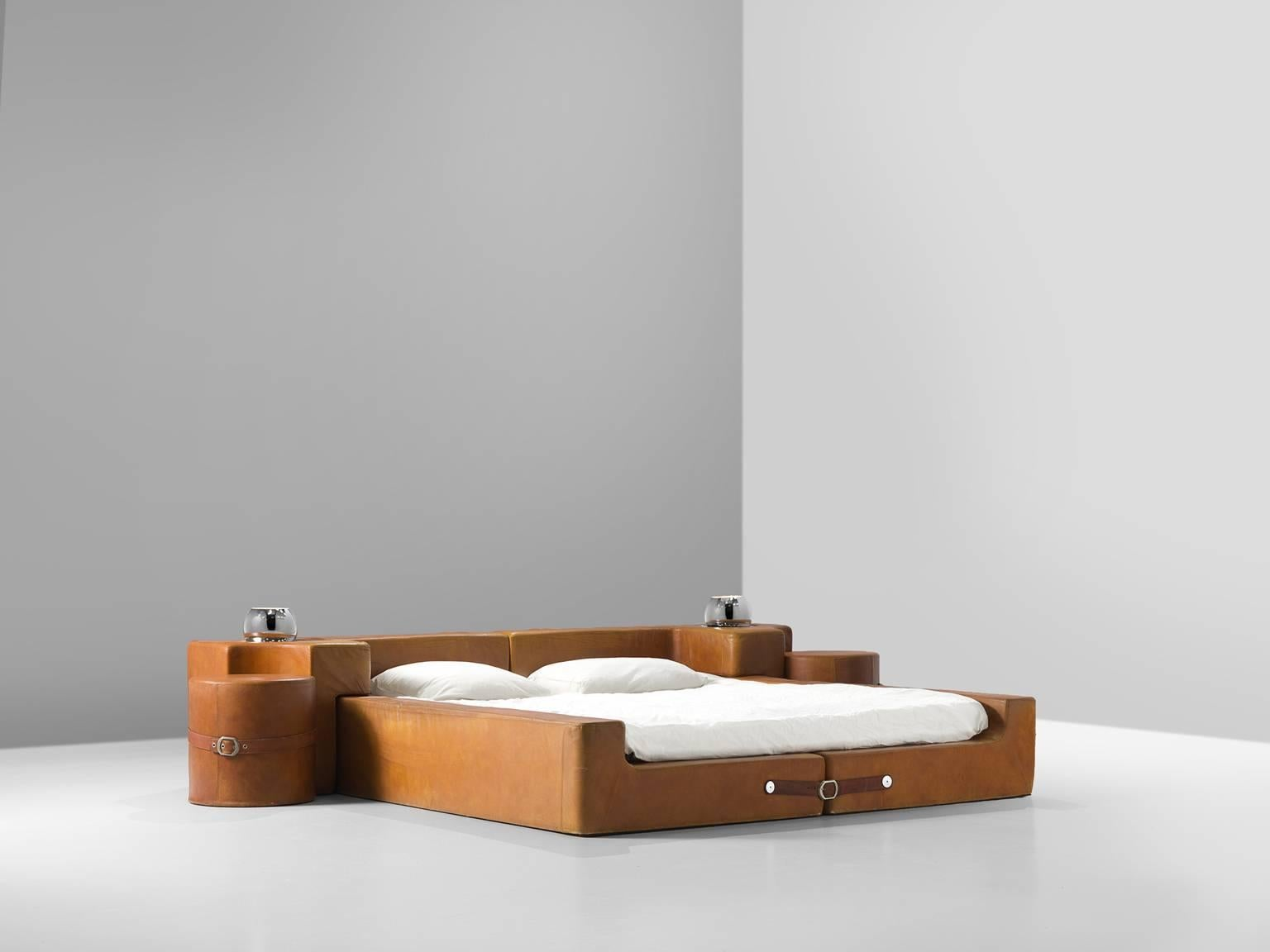 Guido Faleschini Cognac Leather Bedroom Suite For Sale at ... on Cognac Leather Headboard  id=15343