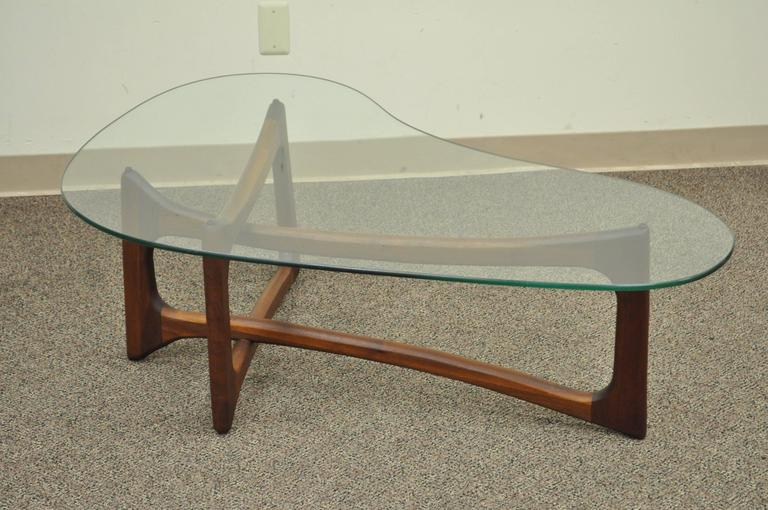 vintage mid century modern adrian pearsall boomerang kidney walnut coffee table