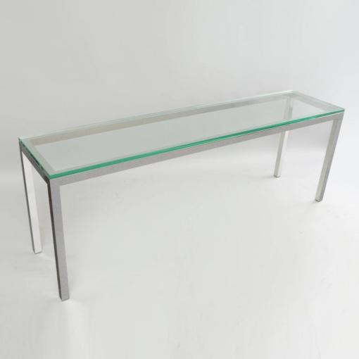 Vintage Chrome and Glass Console Sofa Hall Table Long Sleek Mid     American Vintage Chrome and Glass Console Sofa Hall Table Long Sleek  Mid Century Modern For
