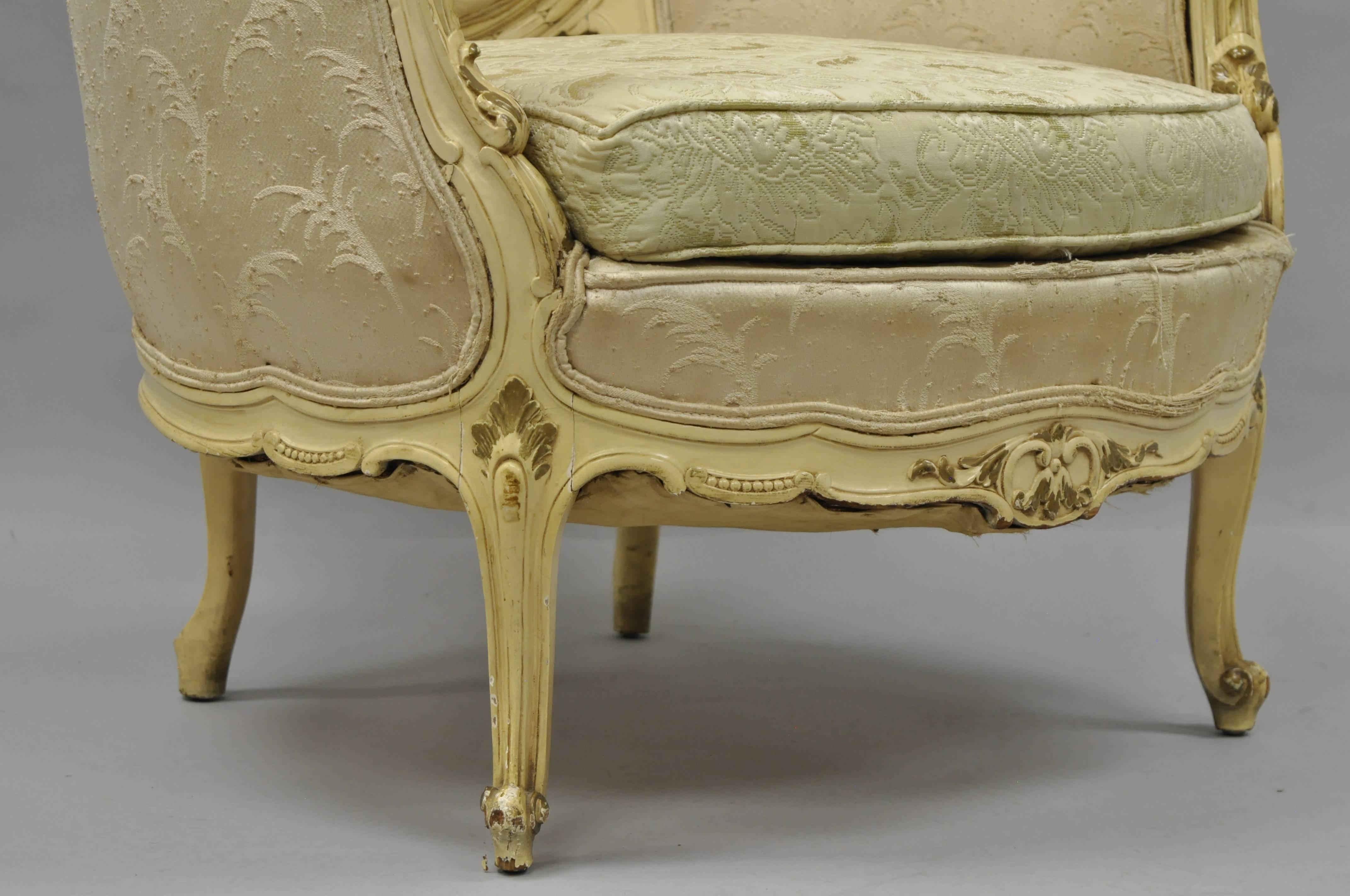 Antique French Louis XV Provincial Style Cream Painted
