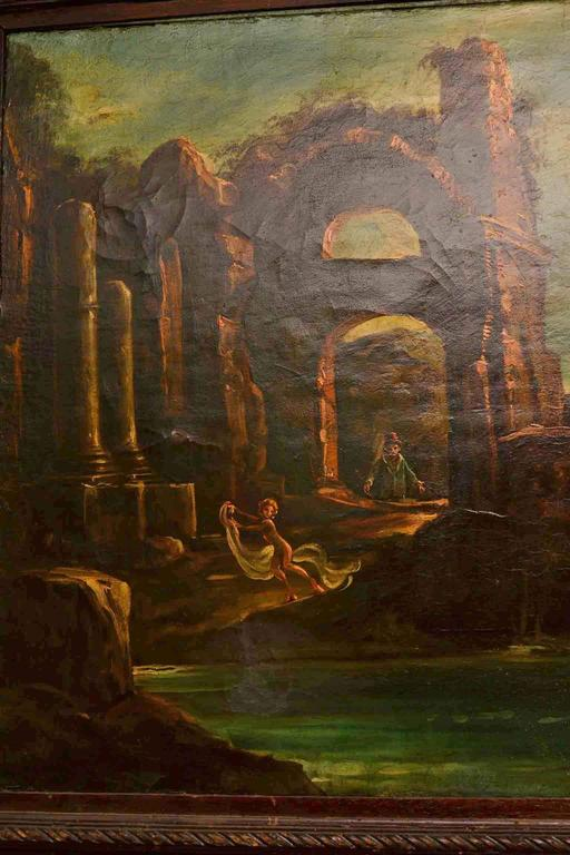 Early 20th Century Oil Painting Landscape Ruins For Sale