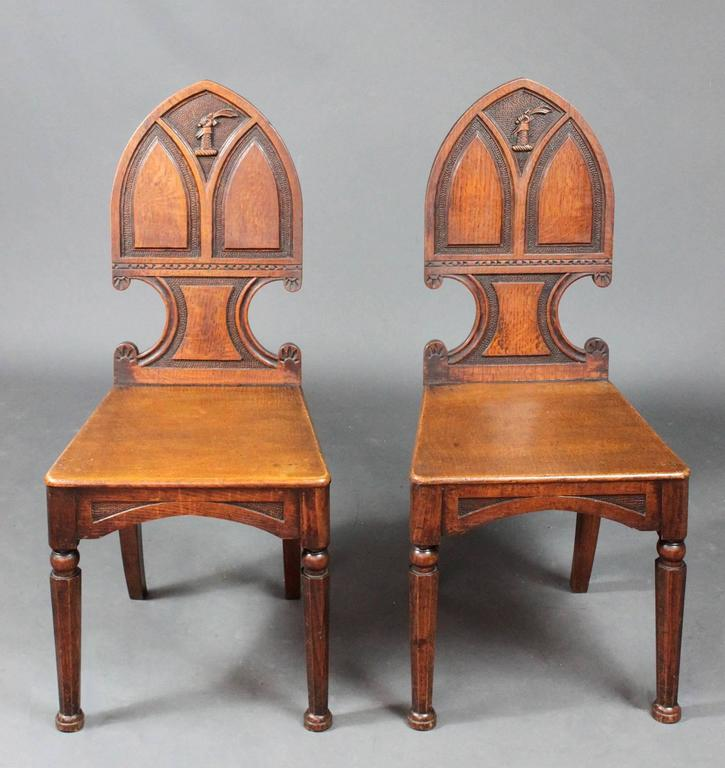 Pair Of Antique Hall Chairs For Sale At 1stdibs