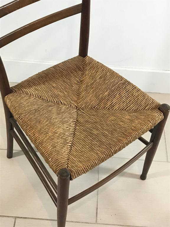 Set Of Six Mid Century Wood And Woven Rush Seat Dining