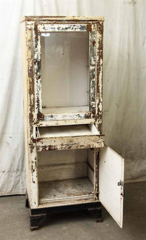1920s Original Distressed Paint Metal Dental Cabinet With Cast Iron Feet For Sale At 1stdibs