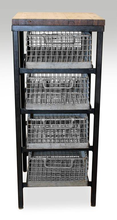 Four Tier Galvanized Basket Shelving Stand With Industrial