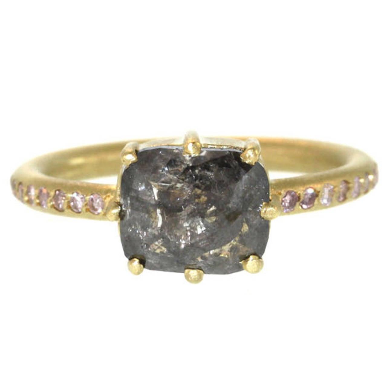 Grey Diamond On Pink Diamond Gold Band Ring At 1stdibs