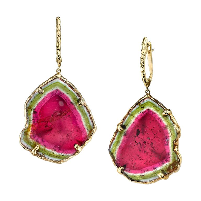 Watermelon Tourmaline Slice Gold Earrings At 1stdibs