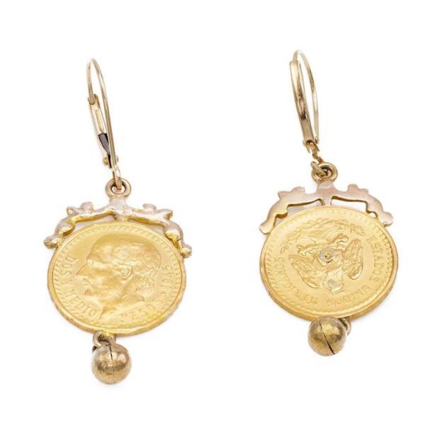 22 Karat Gold Coin Drop Earrings with 14 Karat Gold ...