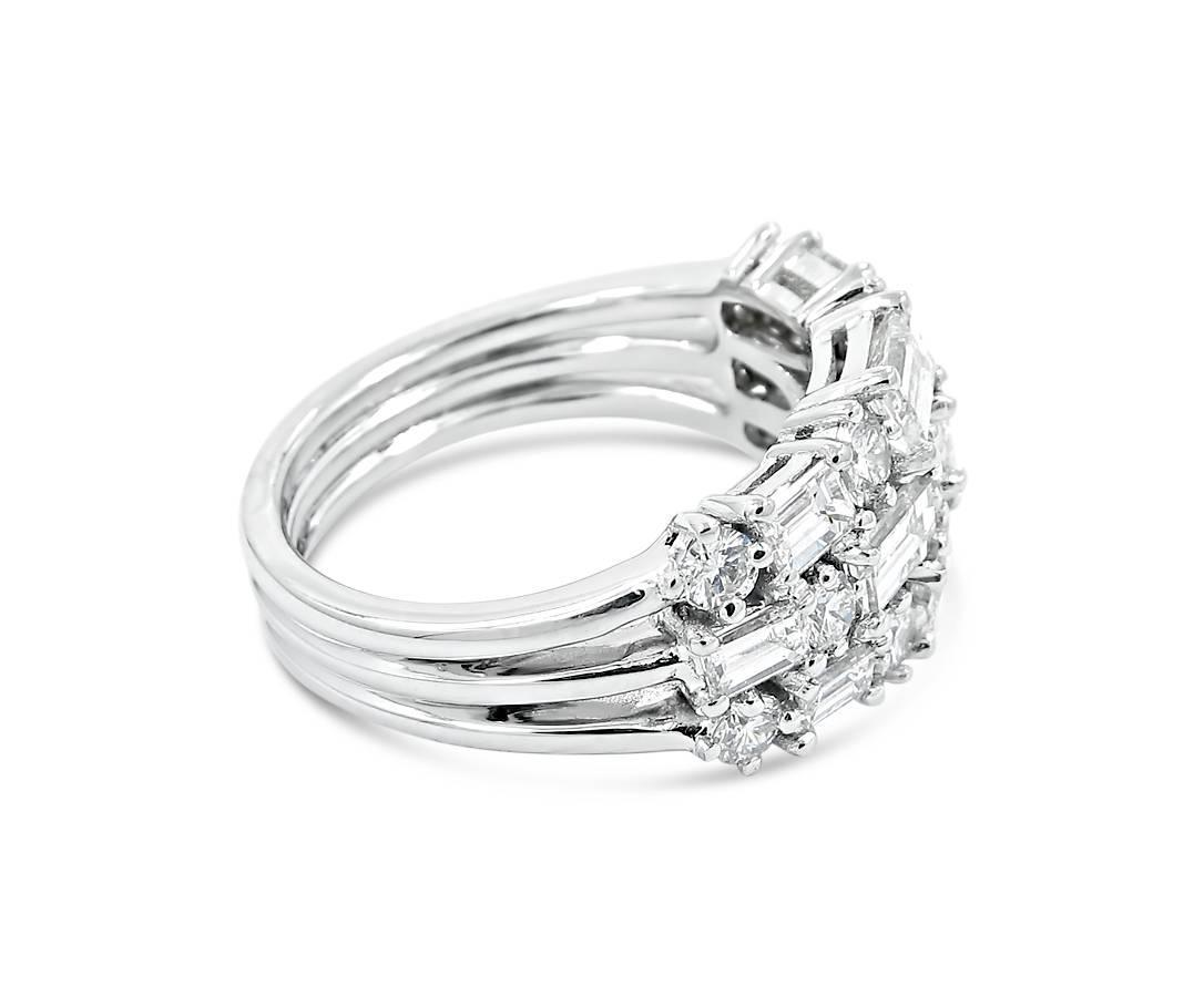 Cluster Style Three Row Diamond Ring For Sale At 1stdibs