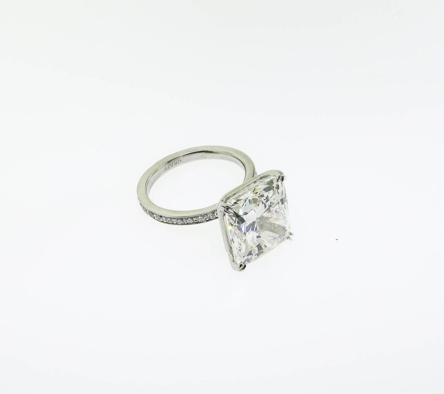 Graff 9 34 Carat Cushion Cut Diamond Platinum Engagement