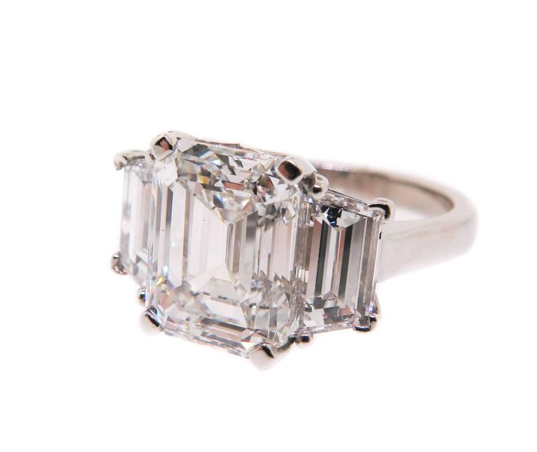 Platinum Emerald Cut Diamond Ring With Trapezoid Sides For