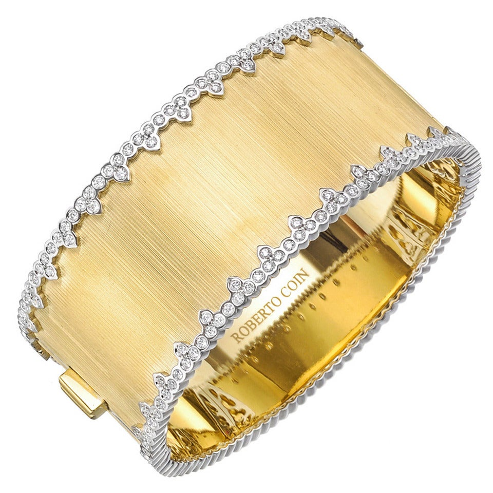 Roberto Coin Diamond Gold Cuff Bracelet For Sale At 1stdibs