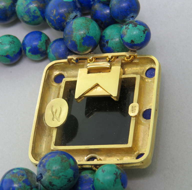 Elizabeth Locke Azurmalachite Bead Lapis Intaglio Gold