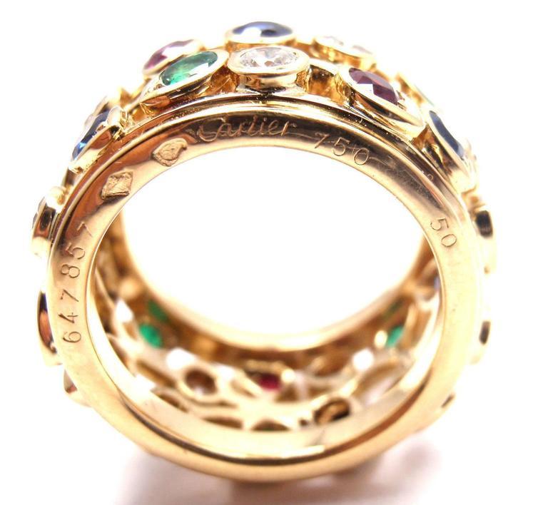 Cartier Diamond Sapphire Emerald Ruby Wide Yellow Gold