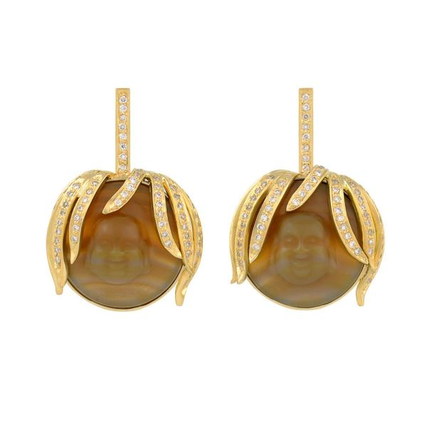 Red Agate Diamond Gold Drop Earrings For Sale at 1stdibs