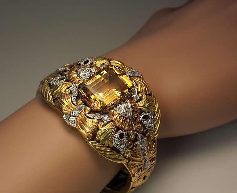Exceptional Art Nouveau Bangle Bracelet C1910 For Sale At