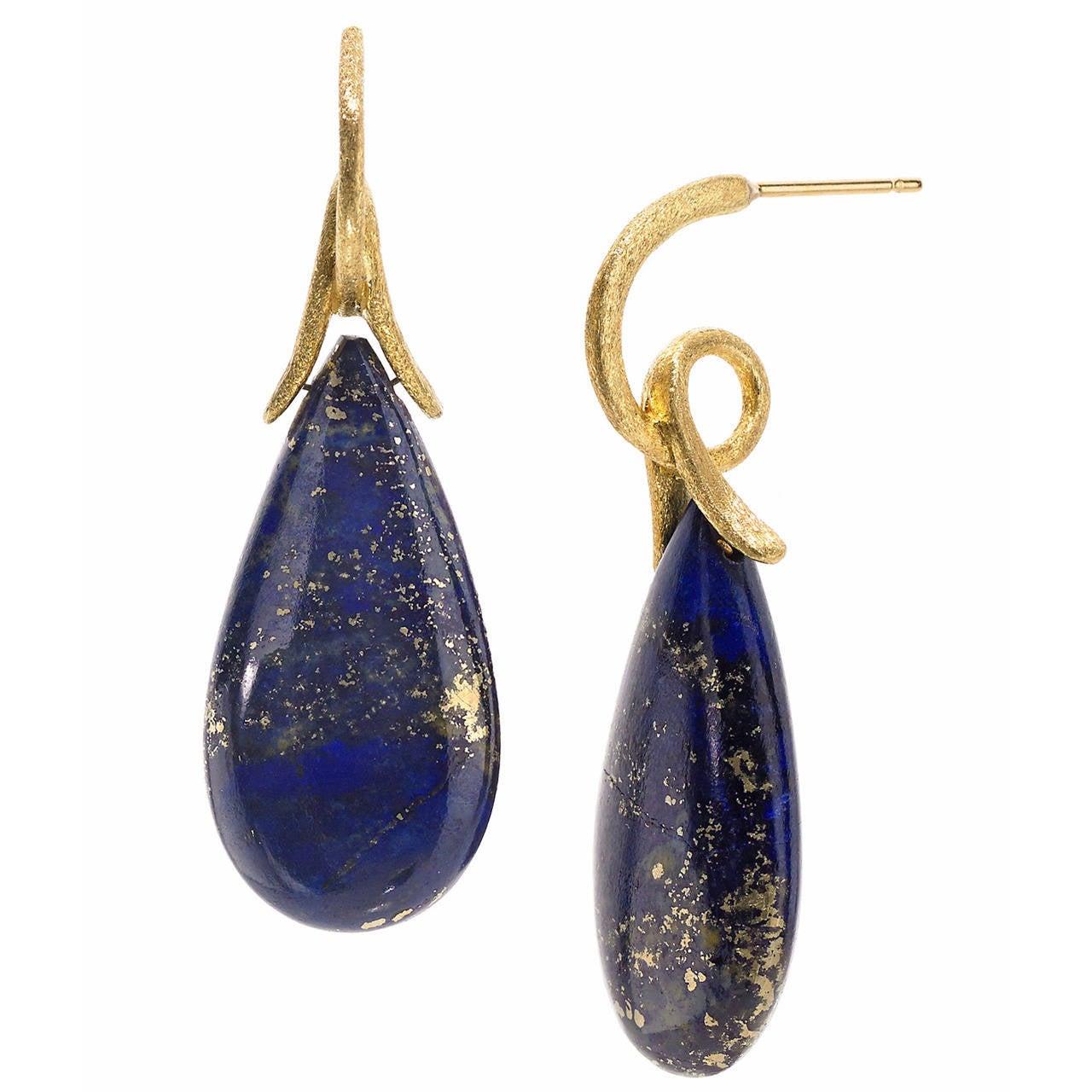 Joseph Murray Lapis Lazuli Satin Gold Loop Earrings At 1stdibs