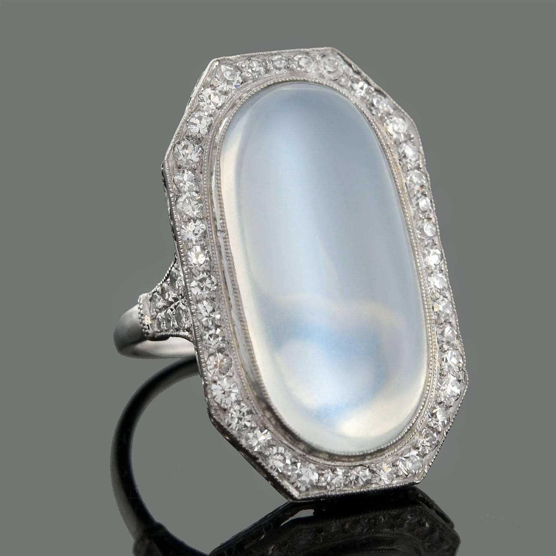 Edwardian 10 Carat Moonstone Diamond Platinum Cocktail ...