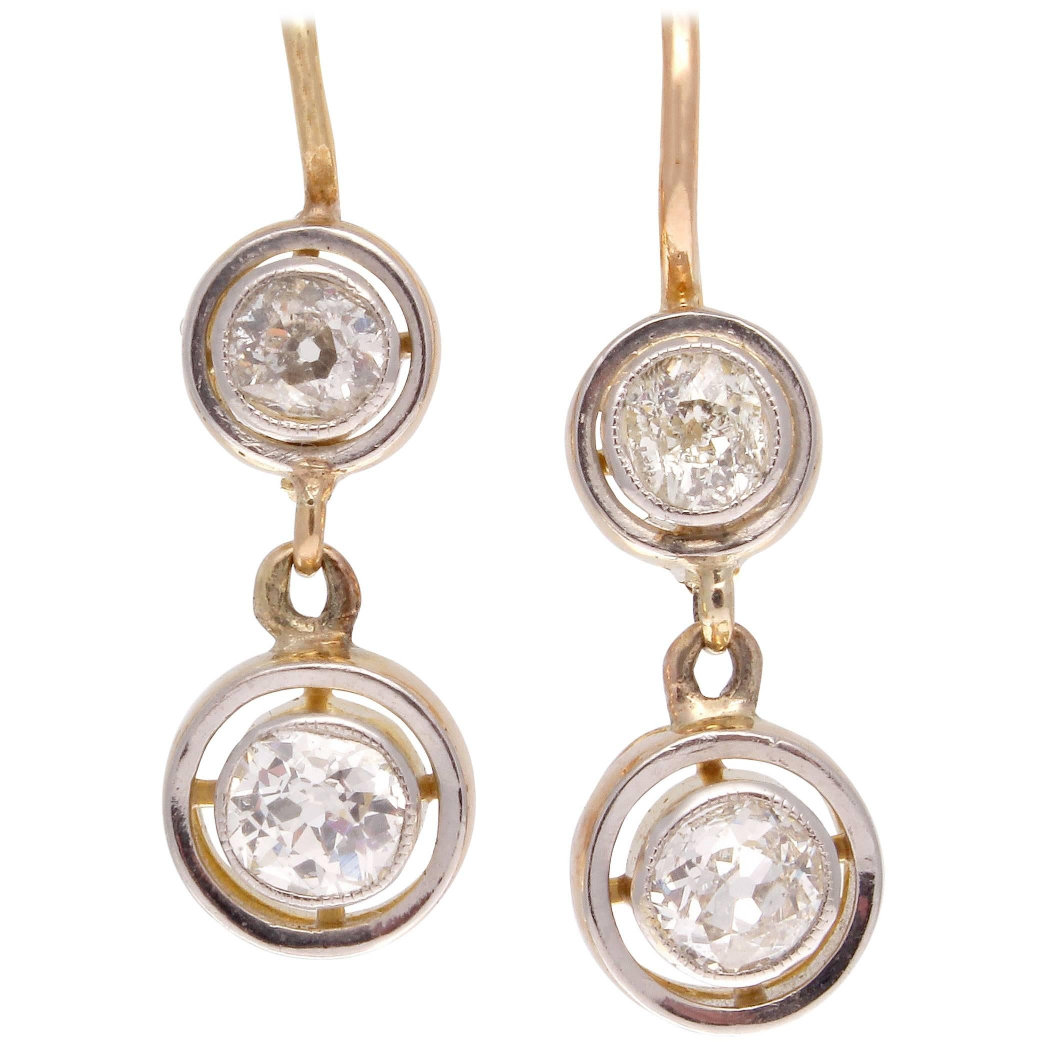 Diamond Gold Drop Earrings For Sale at 1stdibs