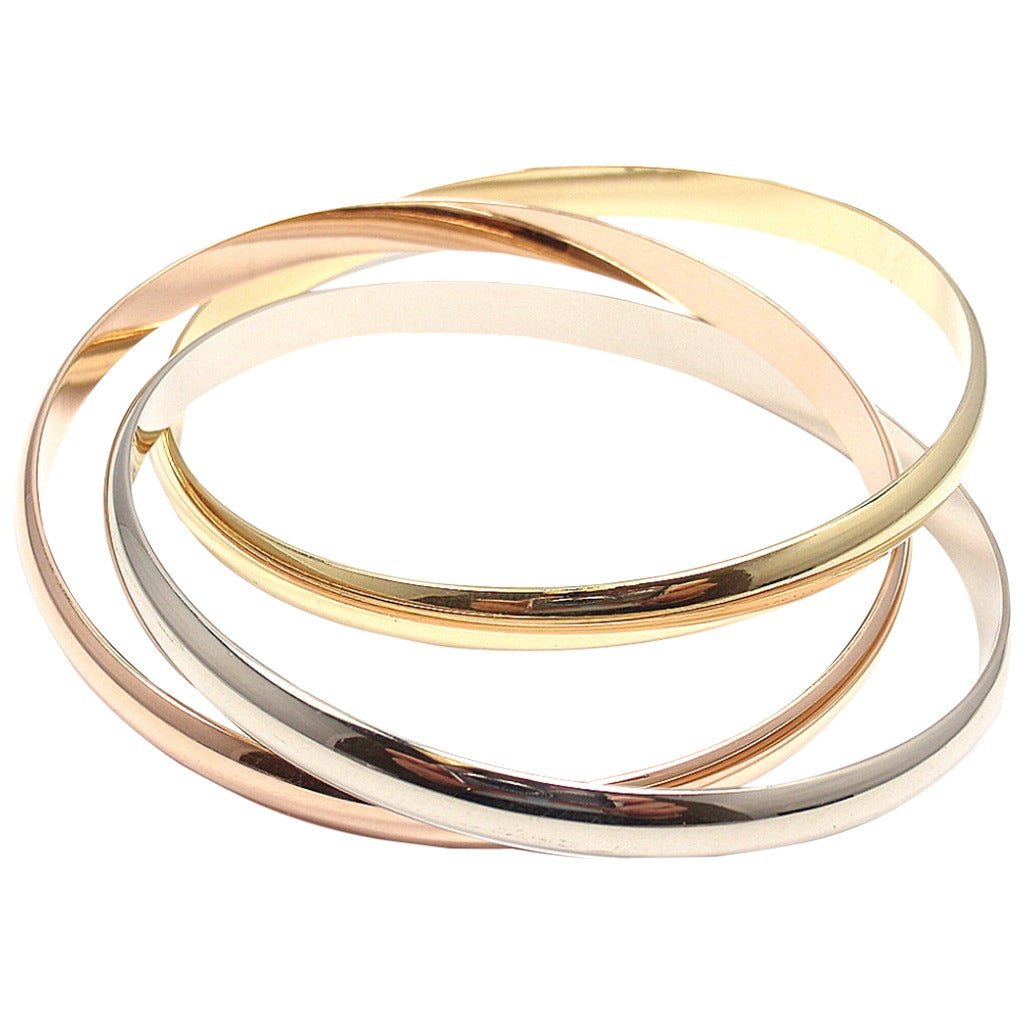 Cartier Trinity Three Color Gold Bangle Bracelet For Sale at 1stdibs Cartier Trinity Three Color Gold Bangle Bracelet For Sale