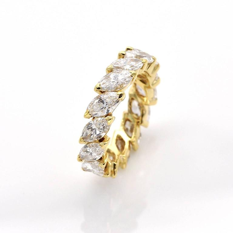 Marquise Cut Diamond Gold Eternity Band Ring For Sale At