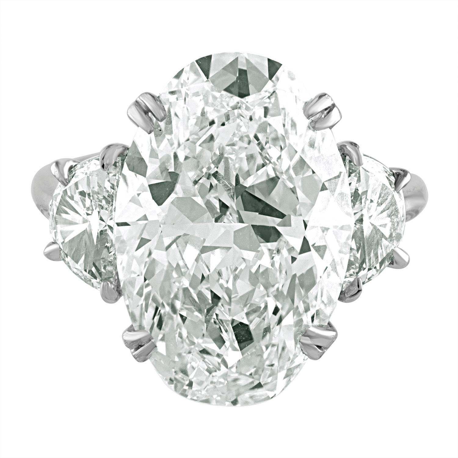 8 08 Carat Oval Shape Is Set In Platinum Ring With Half