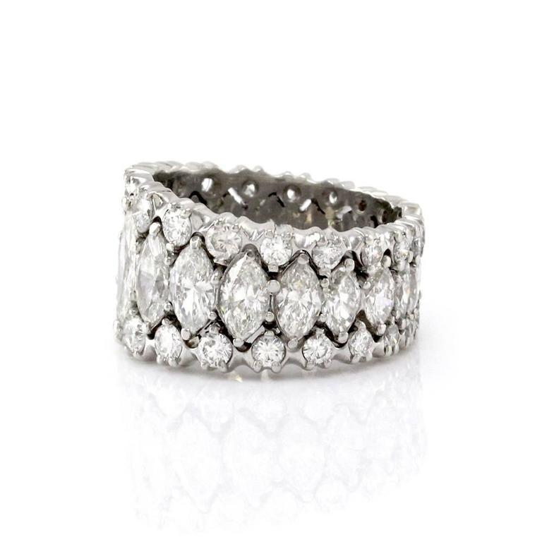 Marquise Diamond Platinum Palladium Eternity Band Ring For