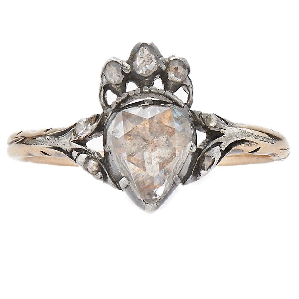 Antique Georgian Rose Cut Diamond Crowned Heart Ring At
