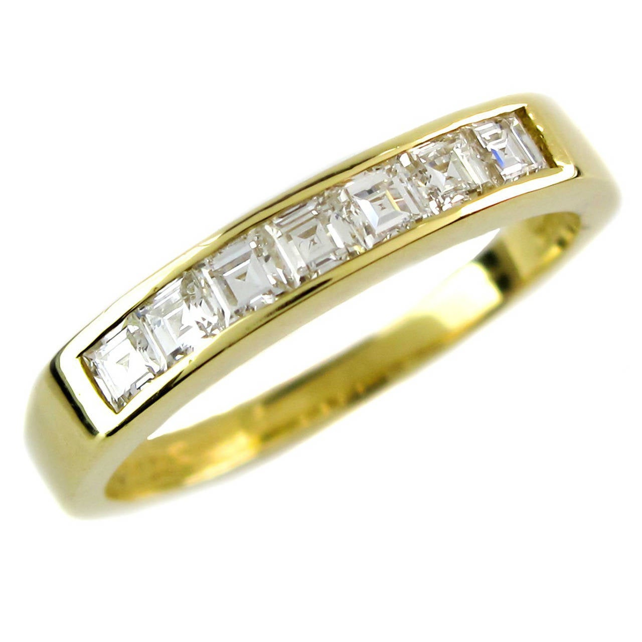 Boodles Square Cut Diamond Gold Half Eternity Ring At 1stdibs