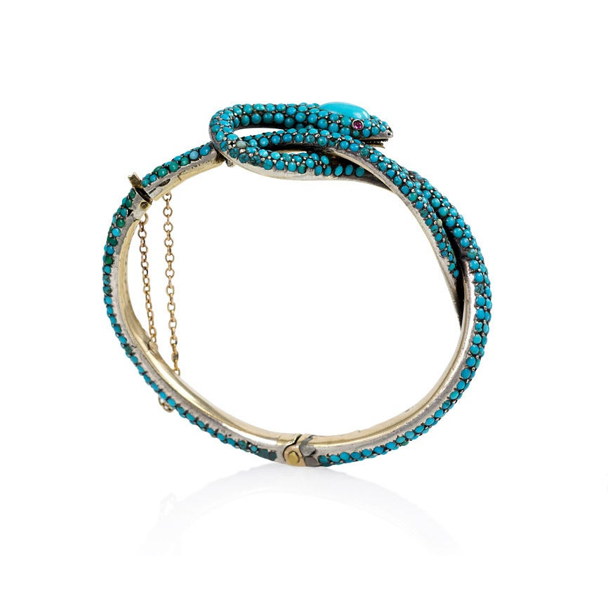 French Antique Turquoise Gold Serpent Motif Bracelet For