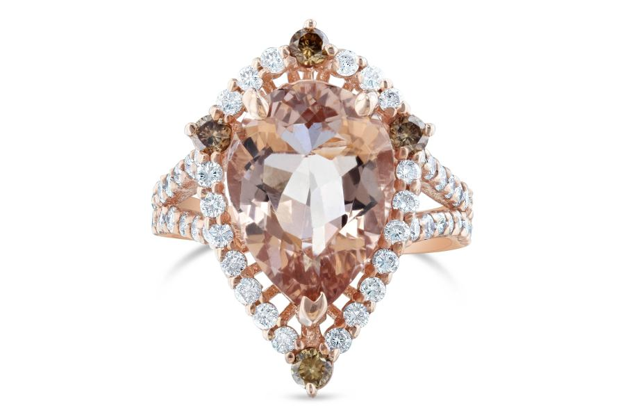 4 63 Carat Pear Cut Morganite Diamond Rose Gold Ring at 1stdibs A great alternative to the cliche Diamond Engagement ring  This ring has a  3 83 carat