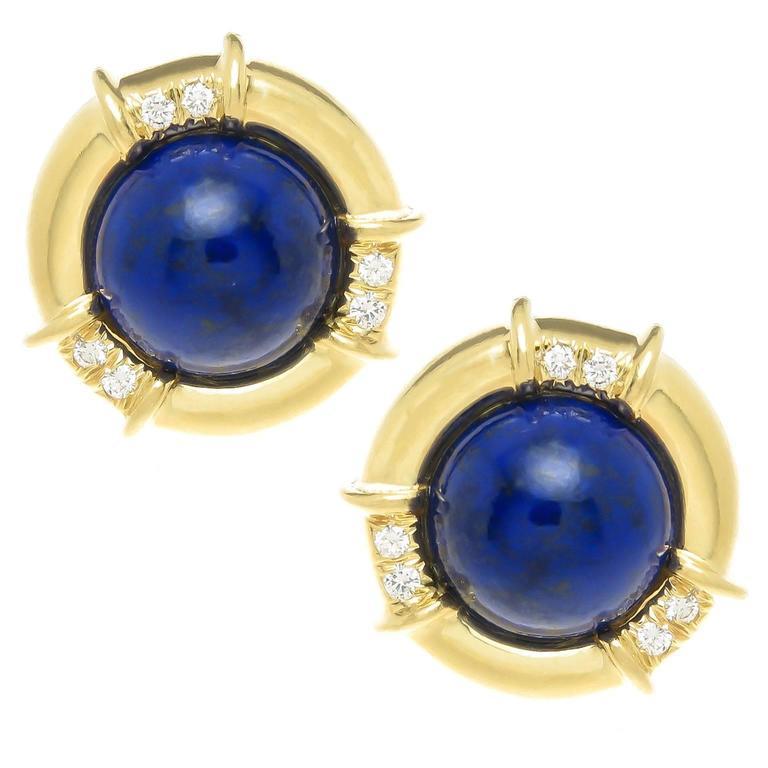1990s Tiffany And Co Lapis Lazuli Diamond Gold Earclips