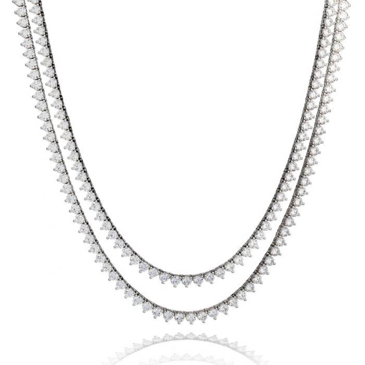 35 Inch Natural White Diamond Three Prong Necklace At 1stdibs