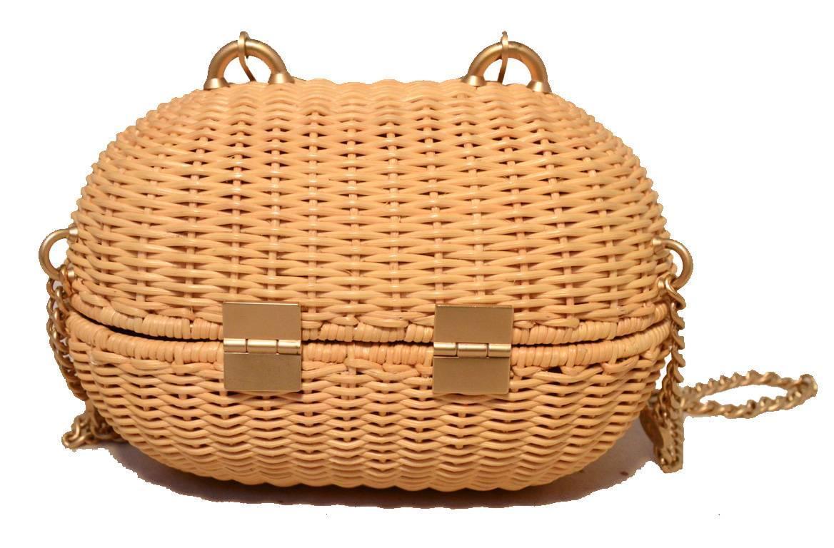 Chanel Tan Wicker Rattan Basket Shoulder Bag For Sale At