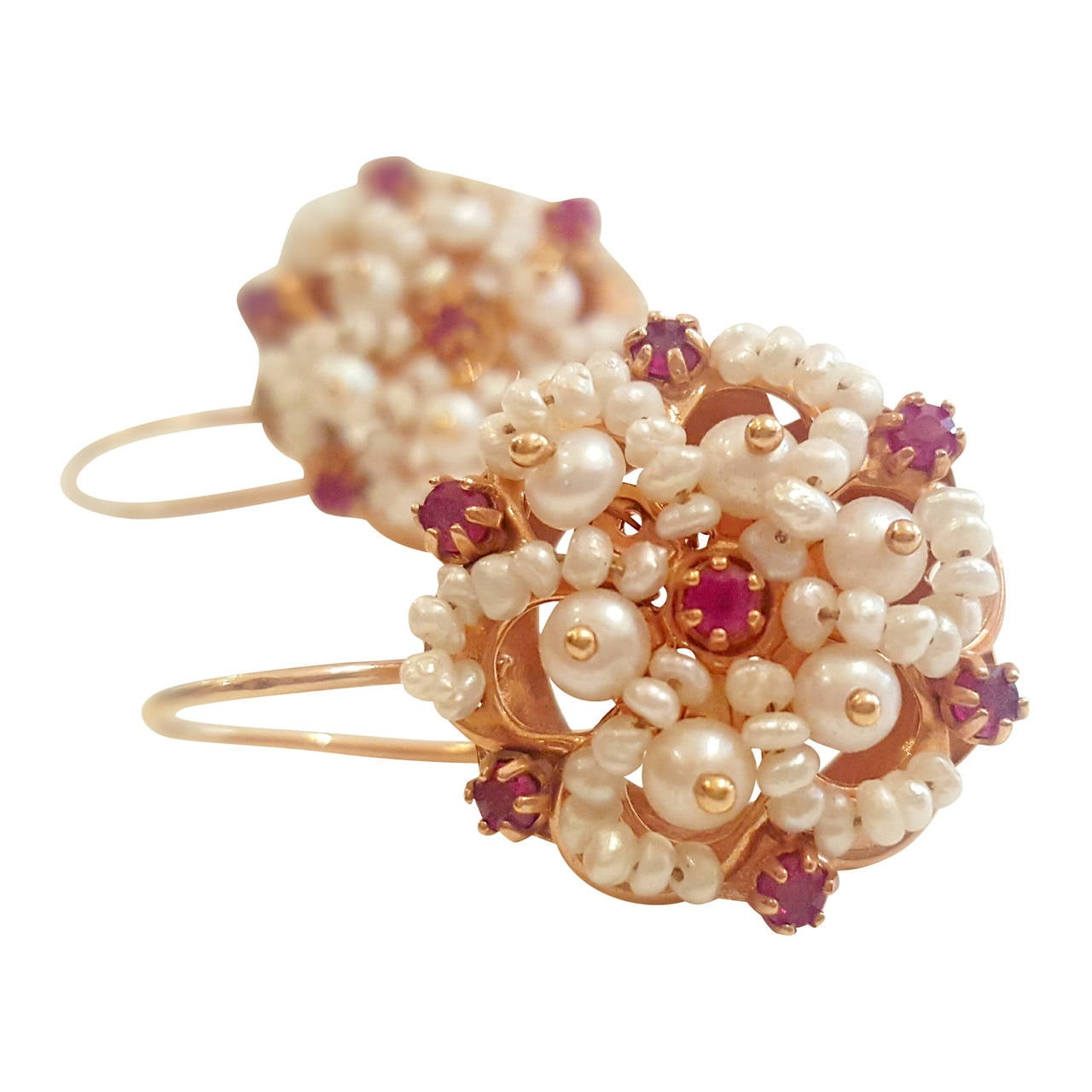 1950s 12kt Gold Earrings With Pearls And Rubins For Sale