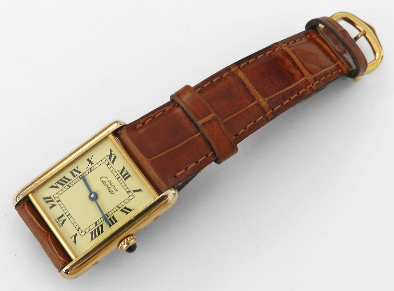 Cartier Vintage Tank Watch with Alligator Strap at 1stdibs Vintage Must de Cartier tank watch  Sterling silver 925 base with gold  plate  Sapphire