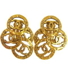 Chanel Vintage Gold Three Tier Charm Coin Medallion Dangle Drop Earrings